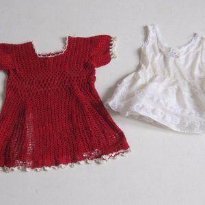 VTG Baby Girl Dress 12 M Crochet Red White LOT 2